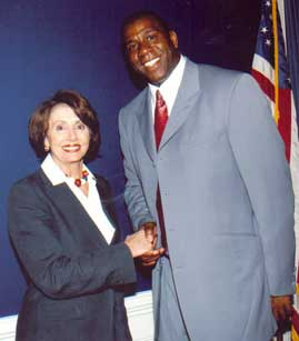Picture of Magic Johnson and Nancy Pelosi